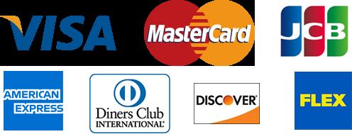 VISA MasterCard FLEX JCB AmericanExpress Diners Club Discover